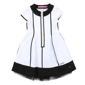 White Dress With Black Piping