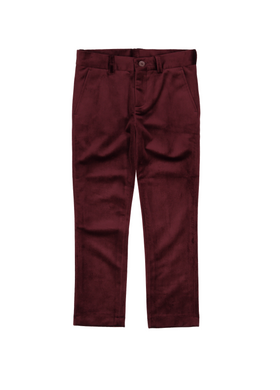 Burgundy Velvet Slim Pants