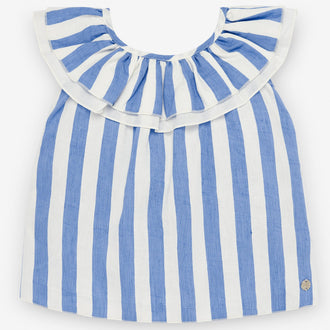 Blue & White Striped Blouse With Back Bow