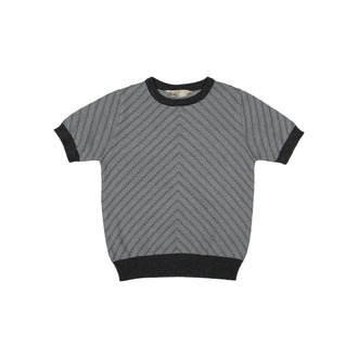 Grey Short Sleeve Diagonal Stripes Sweater
