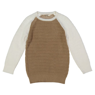 Taupe/Cream Textured Sweater