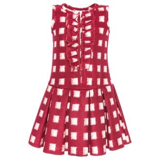 Fuchsia Checked Dress W/Ruffle