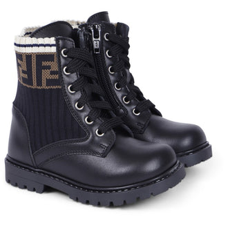 Black Baby Boots With Rib Logo