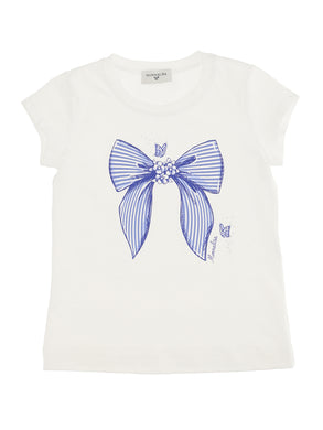 Blue Striped Bow Tee