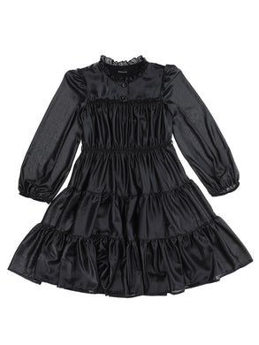 Black Tiered Georgette Dress with Belt