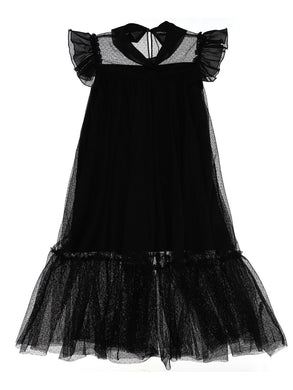 Black Swiss Dot Tulle Maxi Dress