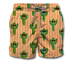 Happy Cactus Print Swim Shorts