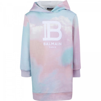 Multi Tie Dye Hooded Logo Dress