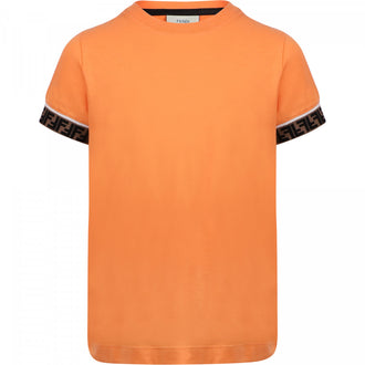 Orange Tee With Logo Stripe On Sleeve