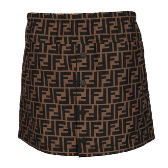 Brown Allover Fendi Logo Skirt