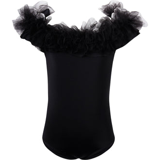 Black Swimsuit With Black Tulle Ruffle