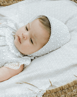 Natural Lace Trim Bonnet