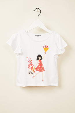 Frimousse White Flutter Sleeve Tee
