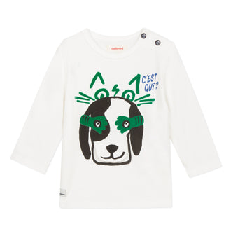 Puppy Tee With Green Detail