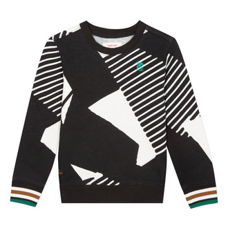 Black & White Pullover With Green Trim