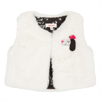 Ivory Eco-Fur Vest With Puppy