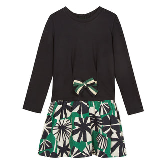 Black Jersey Dress With Green Pattern Bottom