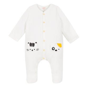 Ivory Velour Puppy Footie With Mustard Trim