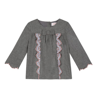 Lili School Grey Blouse With Embroidery