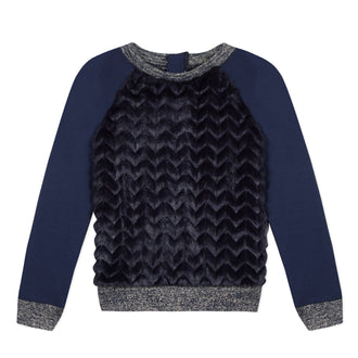 Lili School Navy Fur Top