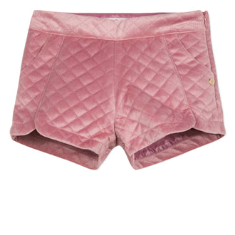 Lili School Vintage Rose Velvet Quilted Shorts