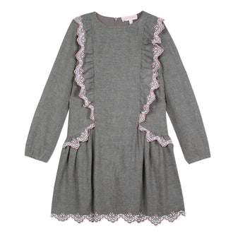 Lili School Grey Dress With Embroidery