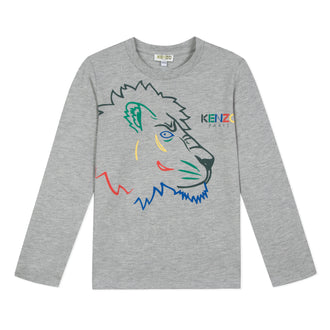 Super Kenzo Grey Colored Tiger Tee