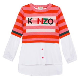 Crazy Jungle Pink Stripe Knit Crop Top Set With Tunic Shirt