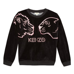 Crazy Jungle Black Velour Pullover With Pink Tiger