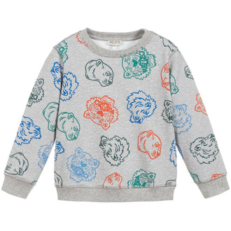 Crazy Jungle Grey Allover Tiger Sweatshirt