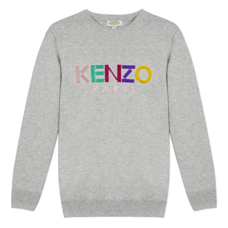 Sport Line Grey Knit Pullover With Rainbow Velvet Letters
