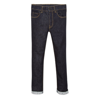 Denim Blue Jeans With Logo Cuff