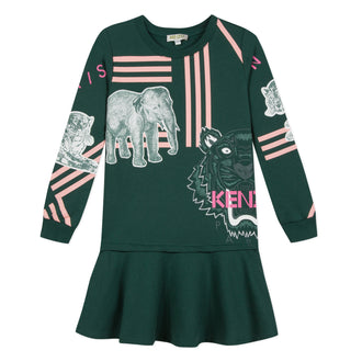 Crazy Jungle Dark Green Animal Logo Dress