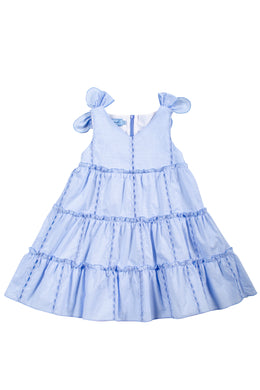 Blue Tiered Poplin Dress with Bows