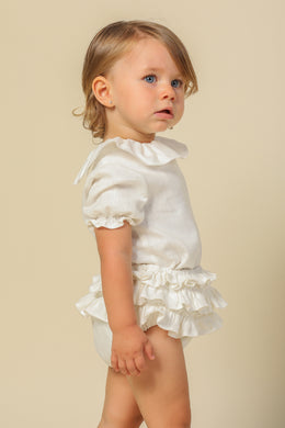 Ivory Linen Ruffle Bloomer Set