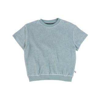 Arona Blue Short Sleeve Solid Sweater