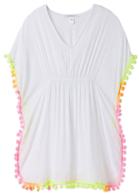 White Poncho With Neon Pom Poms