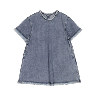 Denim Dress With Fringe Trim