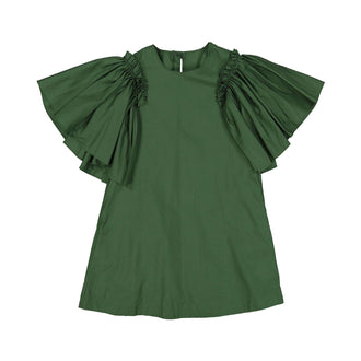 Green Flutter Sleeve Dress