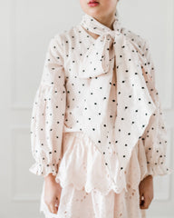 Pink Embroidered Bow Blouse