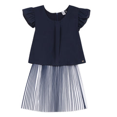 Les Citrons De Blue Pleated Bottom Dress
