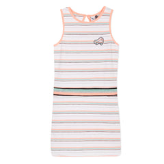 Arty Miami White Neon Stripes Dress