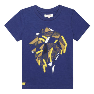Blue Geometric Lion Tee