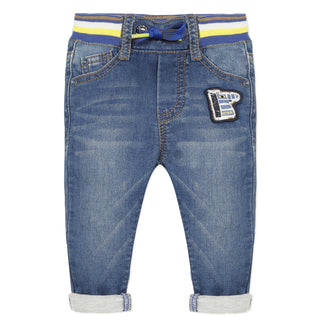 Denim Jeans With Contrast Waistband