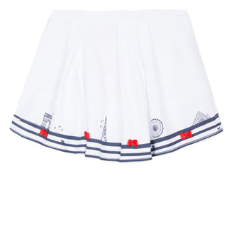 Croisette Glint White With Navy Stripes Skirt