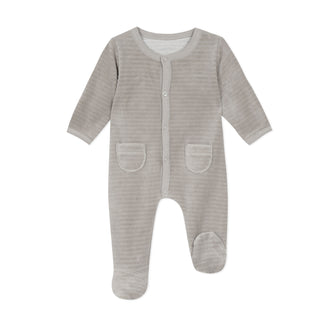 Trouss & Naiss Taupe Velour Footie