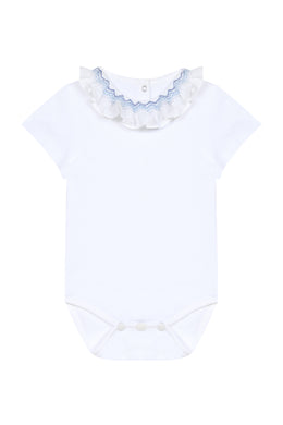 Escale Aux White Onesie with Blue Embroidery