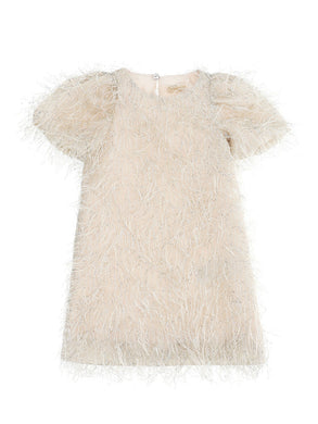 Champagne Feathered Shimmer Dress