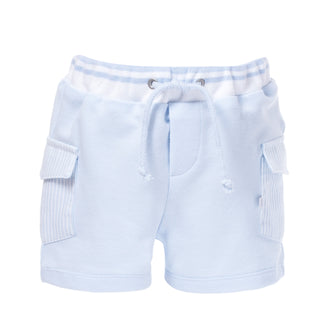 Blue Jersey Cargo Shorts