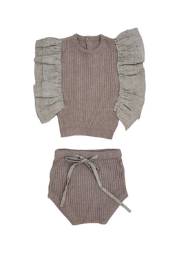 Summer Brown Knit Set with Frilled Shoulders